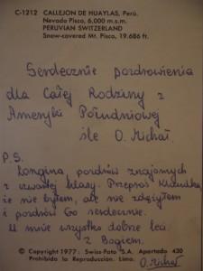 kartka, którą otrzymałam od O. Michała z_Peru