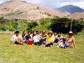 O. Michał z młodzieżą w wiosce Milagro podczas karnawału (w Peru jest zwyczaj lania się wodą w karnawale)