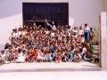 """""""Z dziećmi przed drzwiami kościoła na zakończenie roku szkolnego. Pozdrawiają każdego"""" o. MT"""
